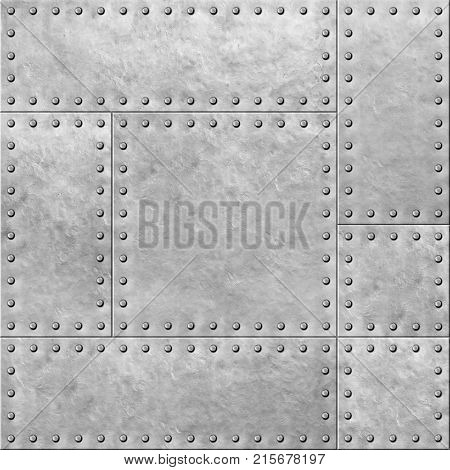 armoured metal plates with rivets seamless background or texture 3d illustration
