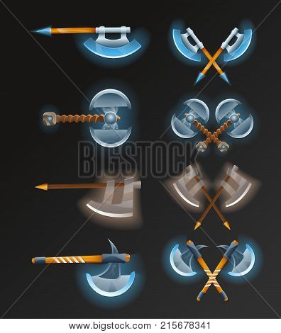 Game element set with crossed medieval hatchets. Viking weapon for computer game design. Confrontation versus sign, fight opposition concept, epic battle competition isolated vector illustration.