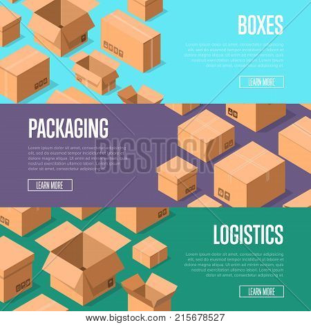 Delivery packaging and logistics advertising template with packing boxes. Postal banners with empty opened and closed cardboard boxes vector illustration. Goods package, shipping paper containers.
