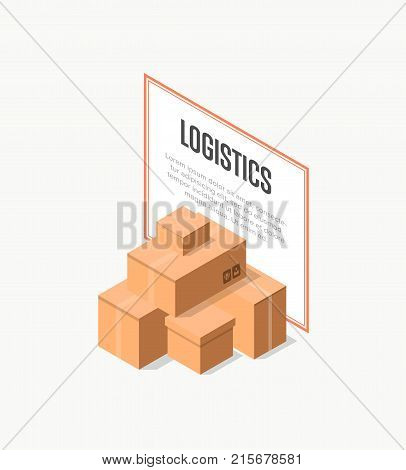 Commercial delivery logistics isometric banner with paper boxes. Postal design with empty opened and closed cardboard boxes vector illustration. Delivery tare, goods package, shipping containers sign.