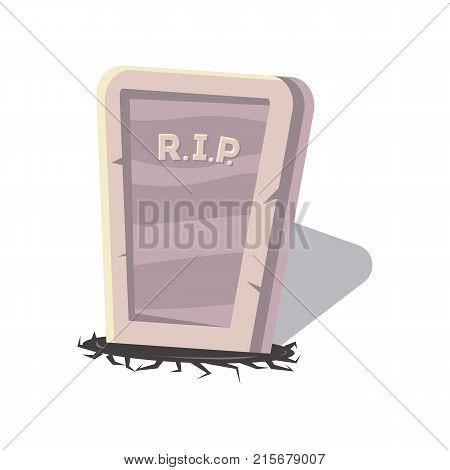 Rip gravestone cartoon icon. Halloween party symbol, festive horror event object isolated vector illustration.