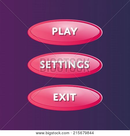 Pink oval options selection windows set in cartoon style. Play, settings and exit buttons. Bright user game design isolated vector illustration