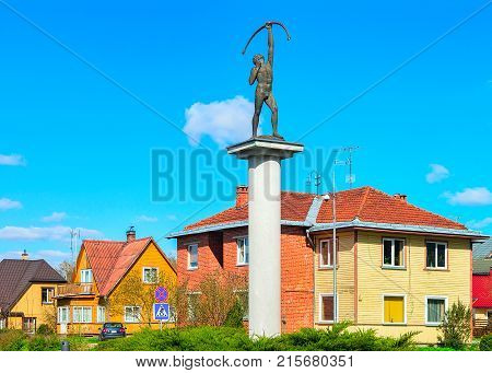 Archer Sculpture At Crossroads With Rotary Motion In Druskininkai