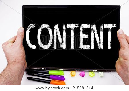 Content Text Written On Tablet, Computer In The Office With Marker, Pen, Stationery. Business Concep