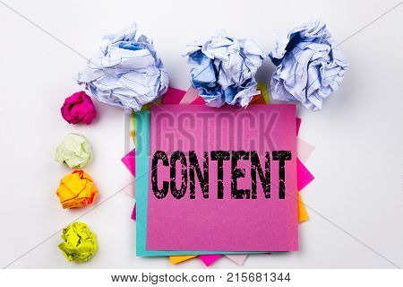 Writing Text Showing Content Written On Sticky Note In Office With Screw Paper Balls. Business Conce