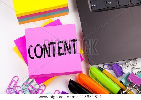 Writing Text Showing Content Made In The Office With Surroundings Such As Laptop, Marker, Pen. Busin