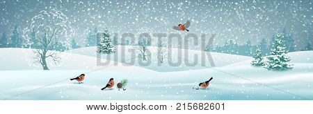 Vector winter landscape with gifts, snow covered hills, bird bullfinch. Christmas header
