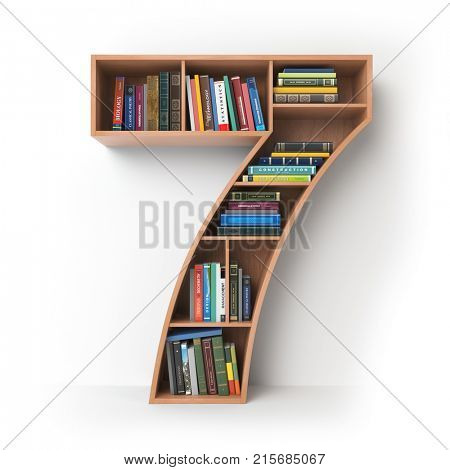 Number 7 seven. Alphabet in the form of shelves with books isolated on white. 3d illustration