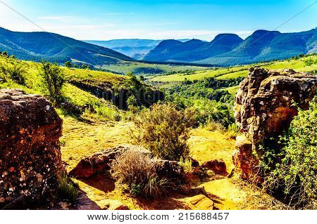 View of the landscape downstream of Lisbon Falls, near God's Window on the Panorama Route in Mpumalanga Province of northern South Africa