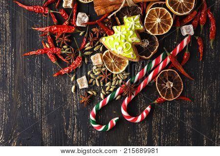 Ingredients For Christmas, Winter Baking Cookies. Gingerbread, Fruitcake, Seasonal Drinks. Dried Ora