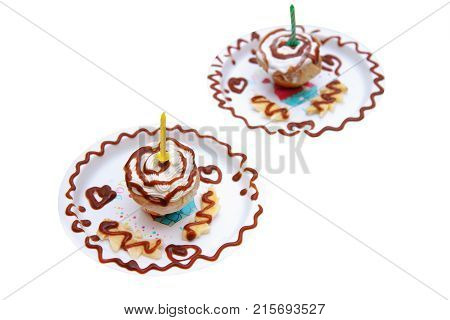 Homemade Birthday Cupcake With A One Candle