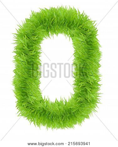 Green grass number 0 Zero isolated on white background