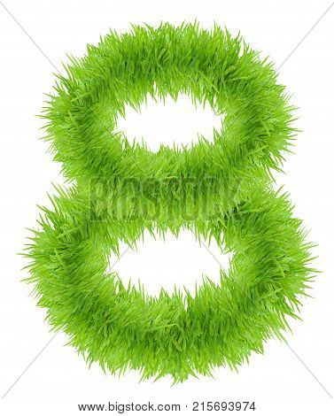 Number 8 eight made of grass isolated