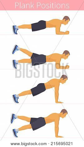 The muscular naked to the waist white young man in the various plank positions. Caucasian strong adult boy is doing the plank exercises and training in the plank postures. Flat vector illustration.