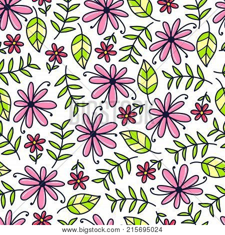 Doodles cute seamless pattern. Color vector background. Illustration with flower, leaf and branch. Design for T-shirt, textile and prints.