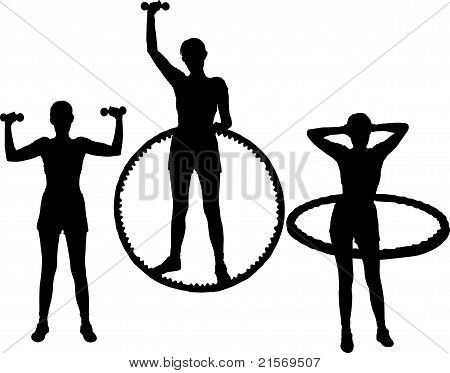 set of silhouettes young active woman