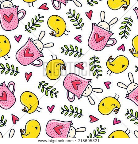 Doodles cute seamless pattern. Color vector background. Illustration with bird, bunny, mug and branch. Design for T-shirt, textile and prints.