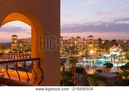 Egypt, Marsa Alam - October 12, 2012 - Pensee Royal Azur tourist resort pools
