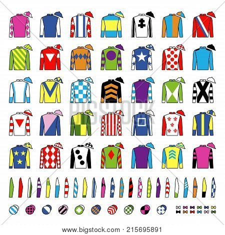 Jockey uniform. Traditional design. Jackets, silks, sleeves and hats. Horse riding. Horse racing. Icons set. Isolated on white Vector illustration