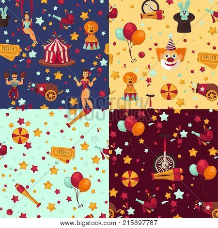 Circus themed bright seamless patterns set. Special equipment for show tricks and performers in scenic costumes surrounded with stars and balloons vector illustrations inside endless texture.