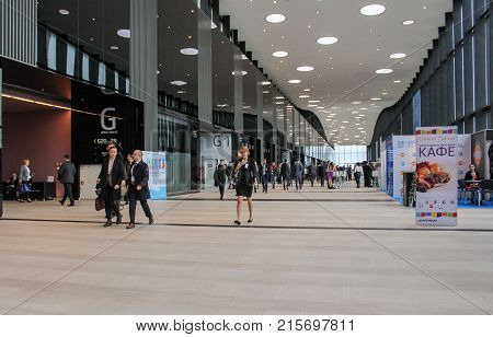 St. Petersburg, Russia - 3 October, Hall Expo Forum, 3 October, 2017. Expo Forum venue of the St. Petersburg Gas Forum.