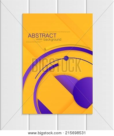 Stock vector brochure A5 or A4 format material design style. Design business templates with abstract violet round shapes on yellow backgrounds for printed material, element corporate style, card, cover