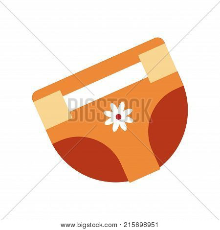 Girlish diapers of orange color for newborn babies with flower bud and convenient clasp isolated cartoon flat vector illustration on white background. Hygienic underwear with smart design for kids.