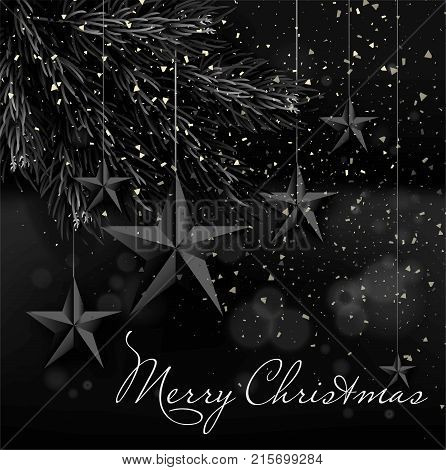 Merry Christmas italic sign on monochrome festive poster with lush fir branches, decorative five-pointed stars that hang on rope and small snowflakes in black colors realistic vector illustration.