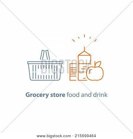 Grocery basket, food and drink, shopping red basket and products, consumption concept, retail store, vector line icon, thin stroke