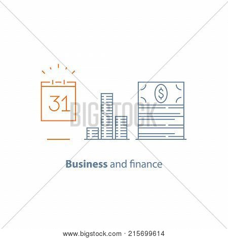 Income increase, financial calendar, monthly payment, investment return, time is money, fund raising, long term, pension savings, revenue growth, dividends, stock market, vector line icon thin stroke