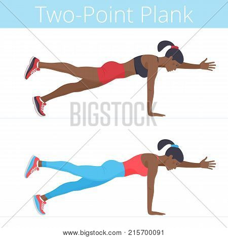 Beautiful young women are doing the two-point plank exercise. Flat illustration of afro-american sporty girls are training in the plank position. Vector active people set isolated on white background.