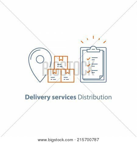 Supply chain, order delivery, distribution warehouse, global shipping service, logistics company, send parcel, receive box, pick up point, insurance clipboard, checklist vector line icon thin stroke