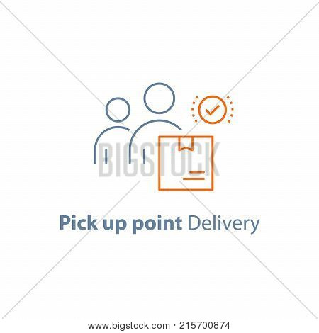 Pick up point, receive order box, collect parcel, delivery service, package shipment, vector line icon, thin stroke