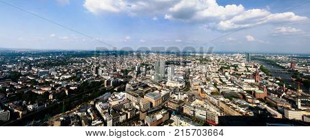 Panoramic aerial cityscape of Frankfurt am Main city and river Main at Hesse Germany