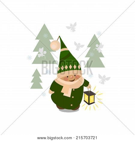 Christmas elf cartoon vector illustration. Flat slyle Santa Claus elf character isolated on white background. Design element for Merry Xmas Happy New Year card banner flayer leaflet poster