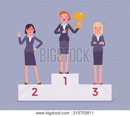 Women put on pedestal of honor. Honoring businesswomen on display for high esteem, place of reverence, workers treating with great respect. Vector flat style cartoon business concept illustration