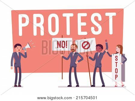 Protesting people at strike. Group of young workers with banners, placards expressing disagreement, disapproval or opposition, active objection. Vector flat style cartoon business concept illustration