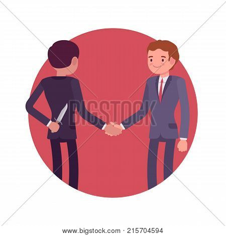 Hidden intentions at negotiations. Businessmen making a deal, shaking hands, one is holding a knife behind back, secret reason, plan or motive. Vector flat style cartoon business concept illustration