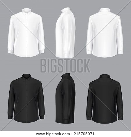 White and black male shirt with long sleeves and buttons in front, back and side view, isolated on a gray background. 3D realistic vector illustration, template formal or casual shirt