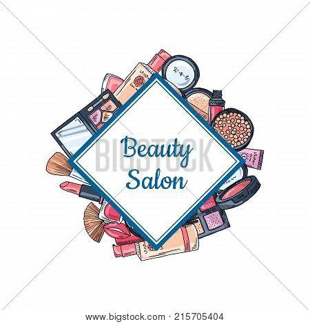 Vector hand drawn makeup elements gathered togheter with framed romb with place for text illustration isolated on white background