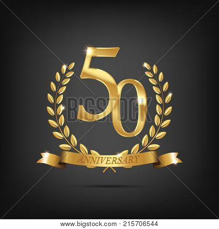 50 anniversary golden symbol. Golden laurel wreaths with ribbons and fifty anniversary year symbol on dark background.