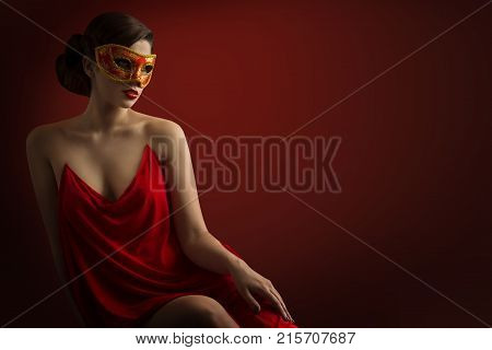 Sexy Woman Mask Sensual Girl Carnival Masquerade Beauty Fashion Model in Red Dress