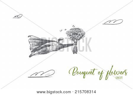 Bouquet of flowers concept. Hand drawn superhero with big flower arrangement in his hand. Flying hero with bouquet on birthday isolated vector illustration.