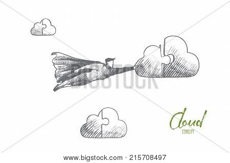 Cleaning service concept. Hand drawn superhero connect to cloud. Flying hero holds part of cloud in his hand isolated vector illustration.
