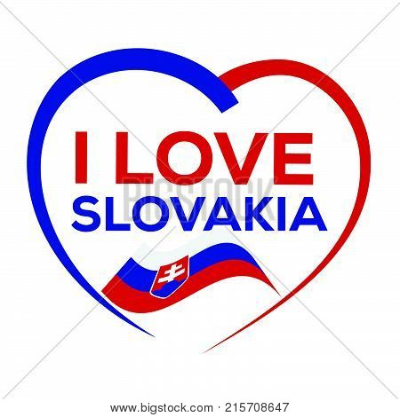 I love slovakia with outline of heart and slovakian flag, icon design, isolated on white background.