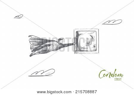 Condom concept. Hand drawn superhero with condom in his hand. Flying hero holds latex contraceptive isolated vector illustration.