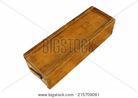 old rummy wooden box isolated on white background for your design