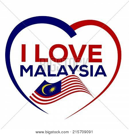 I love malaysia with outline of heart and flag of malaysia, icon design, isolated on white background.