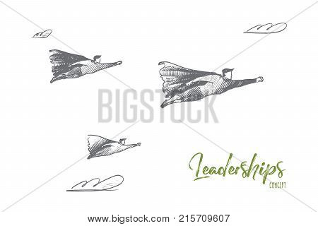 Leaderships concept. Hand drawn superhero as leader of team. Flying hero as symbol of leadership and success isolated vector illustration.