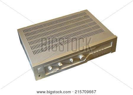 vintage metallic amplifier isolated over white background for your design